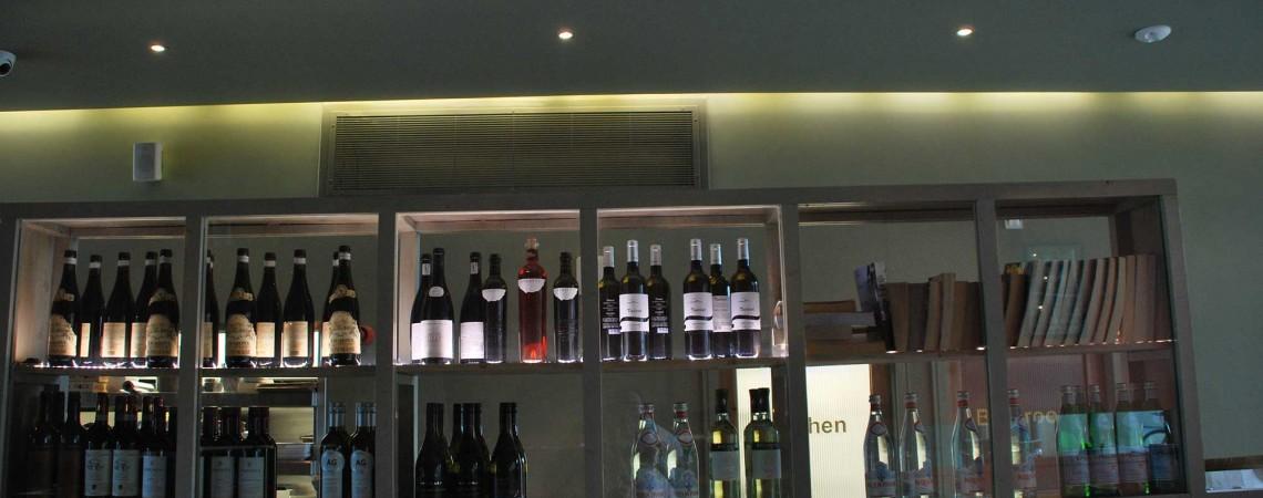 Display Beautiful display shelves to show a range of Italian items to reinforce the la Dolca Vita.